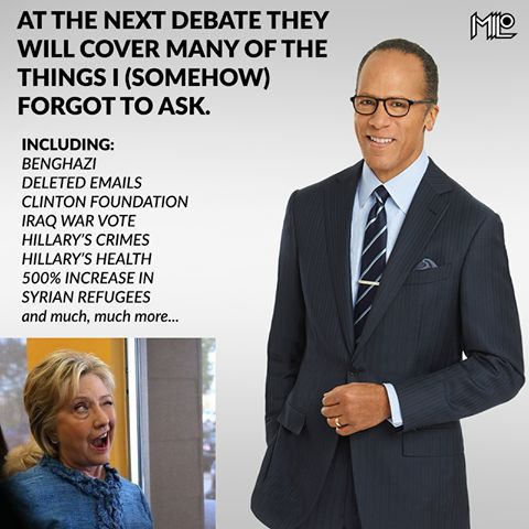 Lester Holt's Performance as a moderator is a perfect example of why trust in the news media is at an all time record low. ~Brian ThoughtCrime Resistance ~ RADICAL Rational Americans Defending Individual Choice And Liberty