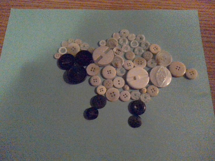 Button sheep! Cost of craft: $2.50 for a bag of black buttons and white buttons. Leftover cardstock and tacky glue were used too, making it cost effective and calming. Great for kids, and for adults with intellectual disabilities.