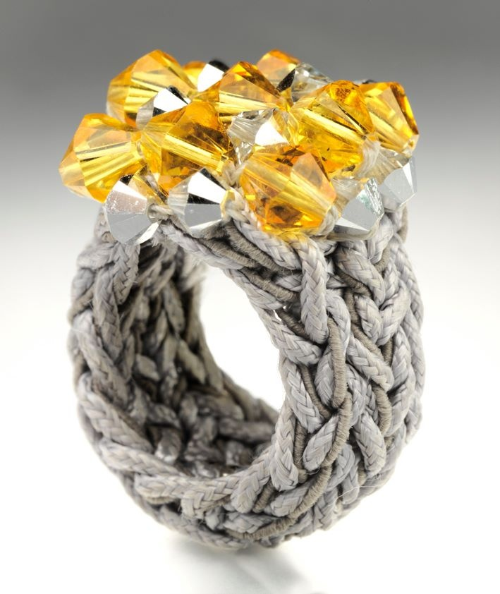 Viola Lee crochet ring with crystals