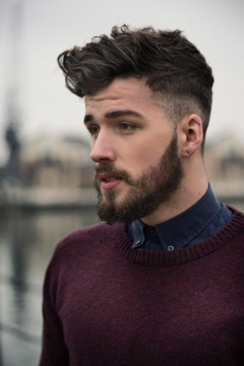 shave around ears and nape of neck, then step and fade upwards, line cut before length of hair. style over to one side