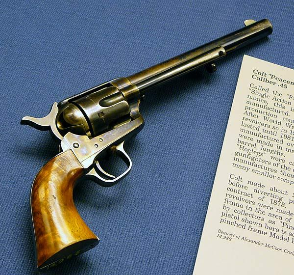 """There's an old saying: """"God created man, but Sam Colt made them equal."""" The Colt Peacemaker .45 Caliber"""