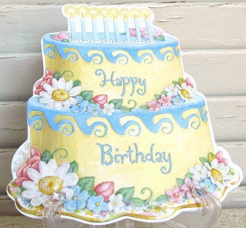 """Carol Wilson Happy Birthday Cake with Flowers and Candles, Glitter by Carol Wilson Fine Arts, Inc.. $3.99. Beautifully embossed 5"""" x 7"""" greeting card with envelope."""