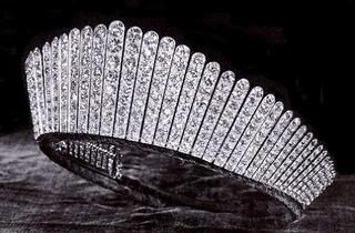 Kokoshnik Tiara:  Made by Garrard in 1888 and commissioned by Lady Salisbury on behalf of the 365 peeresses of the realm for Queen Alexandra on the occasion of her silver wedding anniversary.  Queen Mary inherited it from her mother-in-law in 1925.   Queen Elizabeth II inherited from her grandmother in 1953.