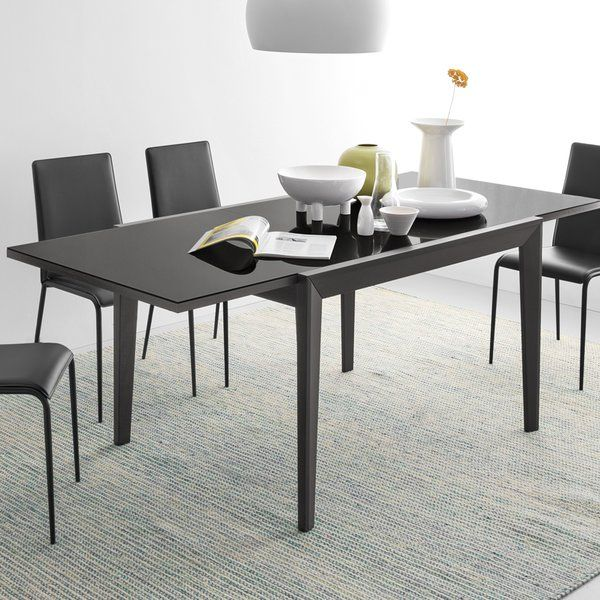 Abaco Extendable Dining Table With Solid Beech Frame And Tempered