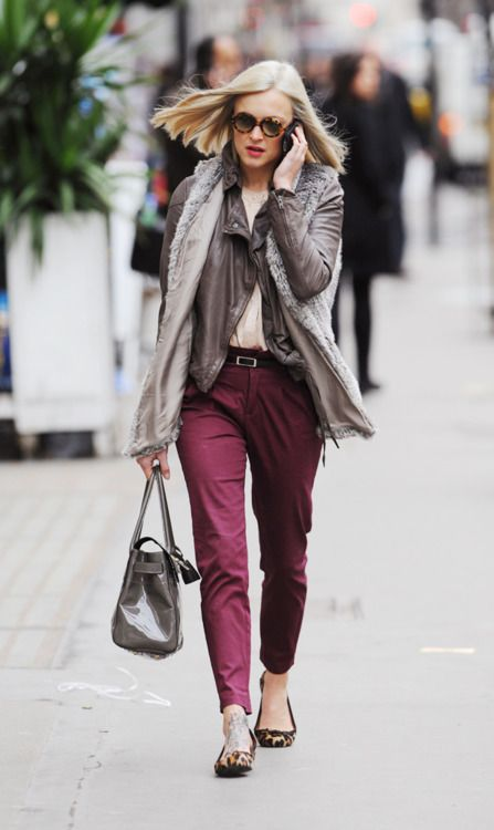 grey cardigan + fuschia trousers + leopard print loafers