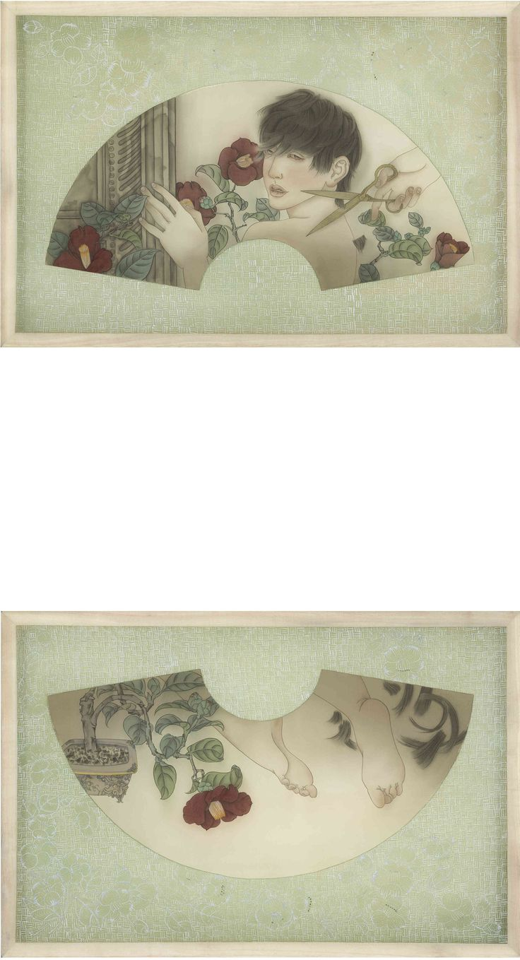 Delight (2013) by Wong Xiang Yi; Ink on Chinese silk; 60 x 90cm each; Artify Gallery