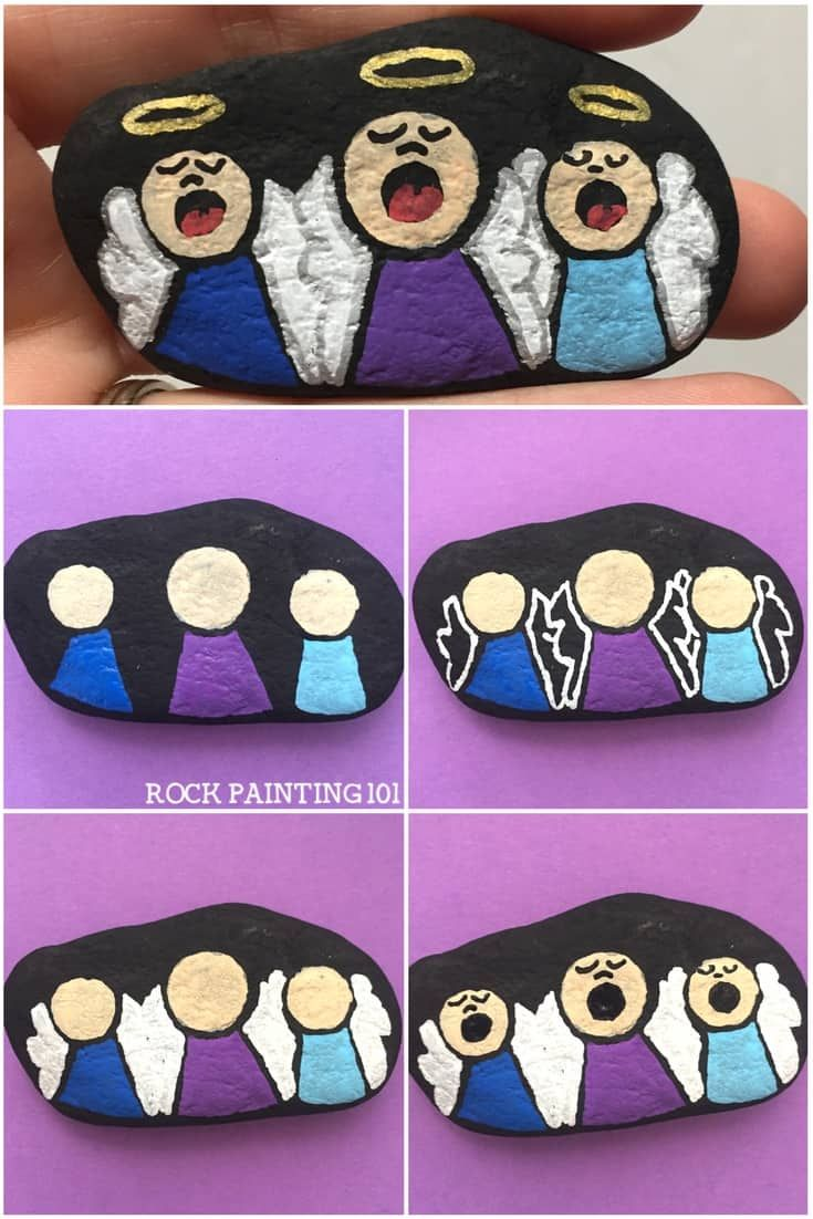 How to paint a singing angel to make a fun painted rock