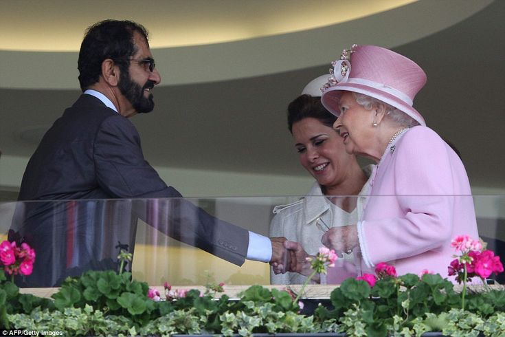 The Queen greets Emir of Dubai Sheikh Mohammed bin Rashid al-Maktoum and Jordan's Princess Haya bint al-Hussein. 15 June 2016