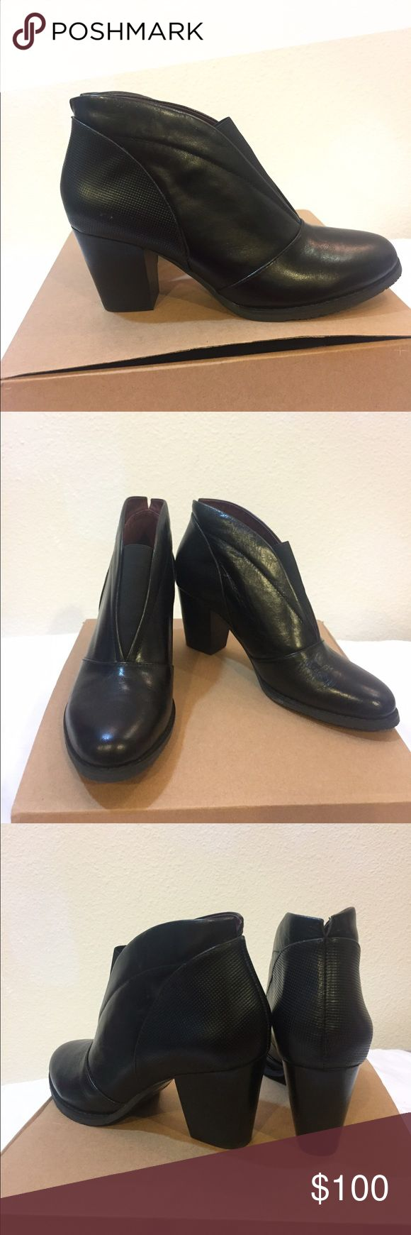 Esska Ankle Dip Booties, size 7 Black leather Esska ankle booties. 2 inch heels, front ankle dip. Brand new, unworn. Esska Shoes Ankle Boots & Booties
