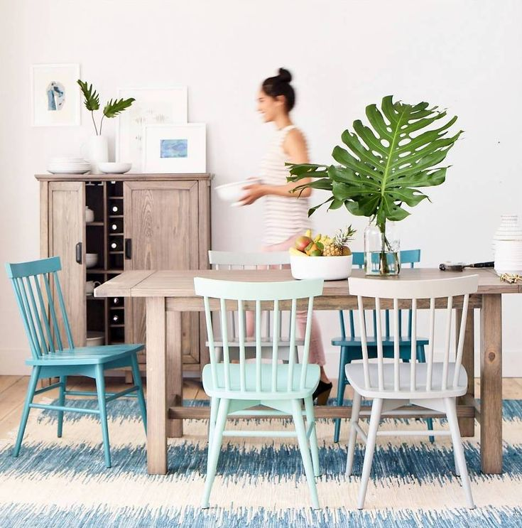 kitchen table rug and chairs // mixed windsor style chairs target