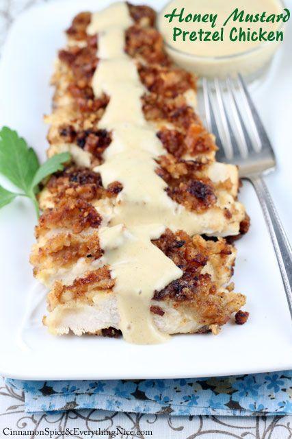 Honey Mustard Pretzel Chicken. Bake the chicken in oven. Sounds dreamy. YUM.