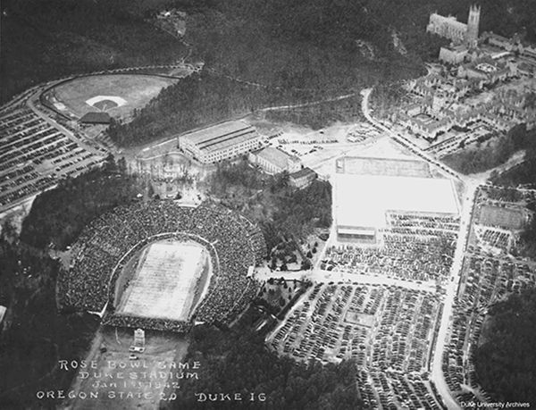 01 Jan 42: Fears of a west coast attack by Japan moves the 28th Rose Bowl game between Oregon State and Duke to the east coast in Durham, NC, making it the only Rose Bowl game to be held outside of Pasadena. After the Battle of Midway, the west coast would no longer be deemed vulnerable and the Rose Bowl game would move back to California. Most of the players would don military uniforms during 1942 and several would be killed in action before the end of the war. #WWII #History