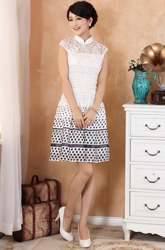 Modern Chinese Qipao Dress: Modern Lace Princess (Black/ Grey/ White) $64.99 (48,96 €)