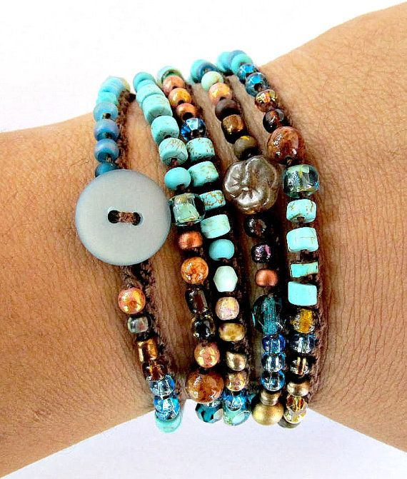 Crochet Wrap Bracelet Boho Necklace Beaded Quot Earth Wave
