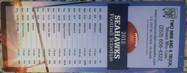 Front of Seahawk's game schedule