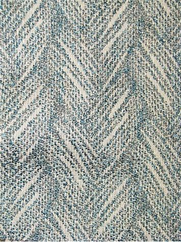 "Seadrift Aqua -  Abstract chevron jacquard upholstery fabric from Valdese Weavers – Dicey Fabrics div. Durable 33,000 double rubs. Content; 71.66% olefin / 28.34% poly. Railroad Repeat; 3.44"". Weight; 1.34 lbs per yard. Width; 55"""