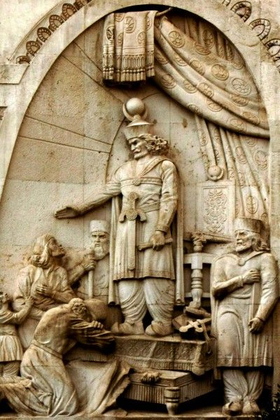 Statue of Khosrau I in Tehran courthouse. Statue of Khosrau I, a Sasanian king who was known to be a great patron of philosophy and knowledge. #Iran #Iranian #Persia #Persian #Statue #art #history #carving #tourism #mustseeIran #Tehran #Sasanian #Empire #courthouse #king #Khosro #Khosrau