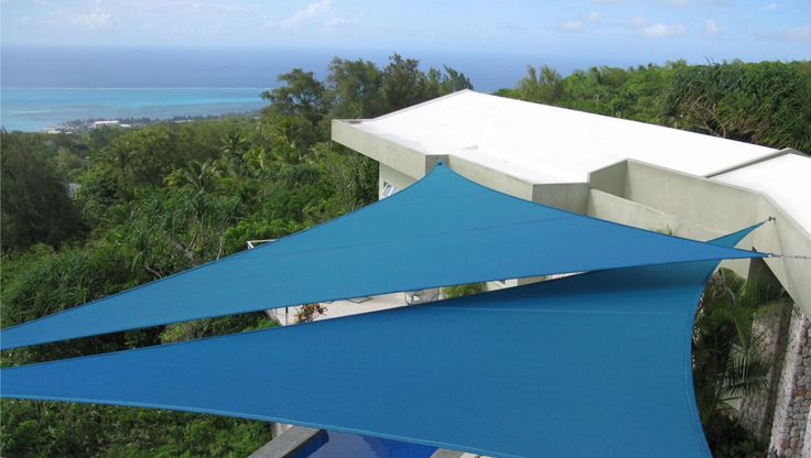 interesting way to use 2 for interest/flair Architectural Shade Sails | Residential Deck Patio - Mariana Islands, Saipan