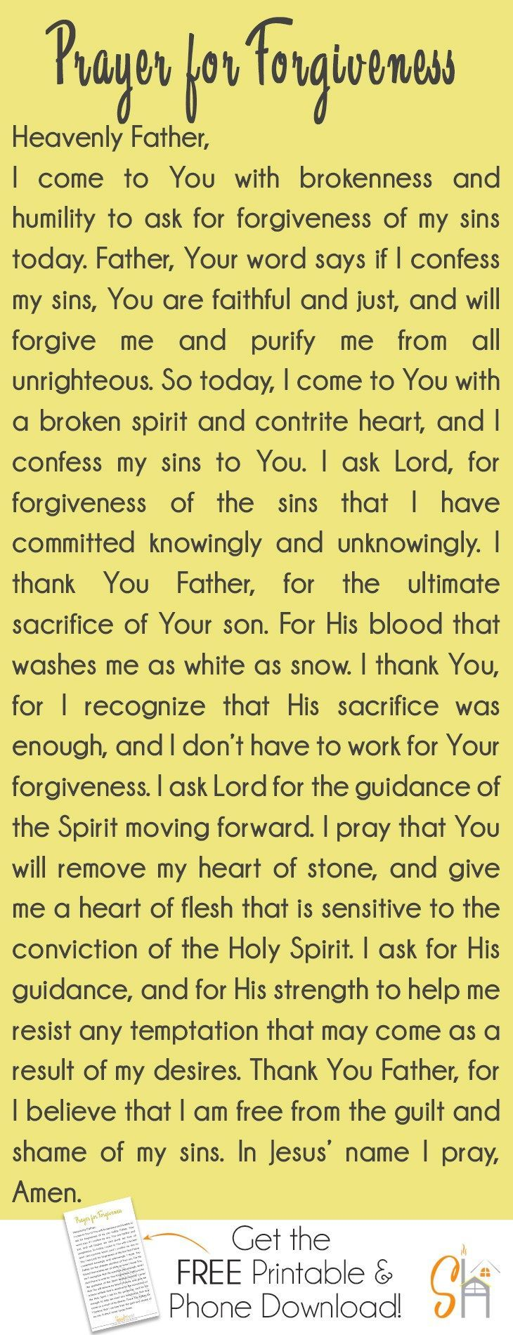 Prayer for forgiveness: this simple prayer emphasizes the importance of approaching God with humility, and a heart that's repentance because that's all we really need to access His grace.