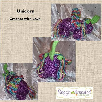 crocheted unicorn found in the enchanted forest market