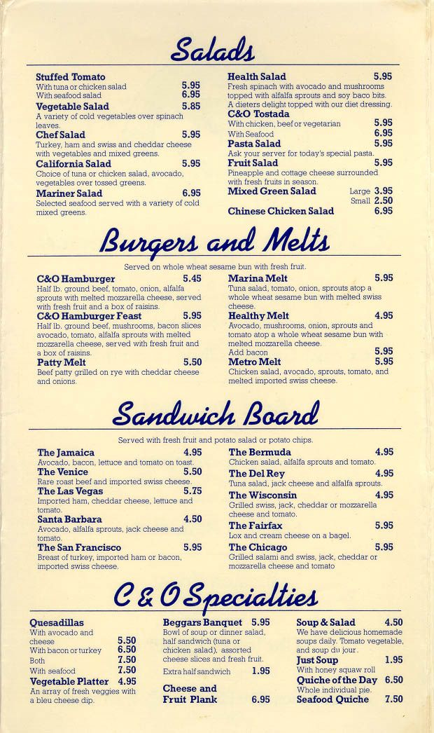 Cheese & Olive Cafe menu, Venice, CA, 1984.