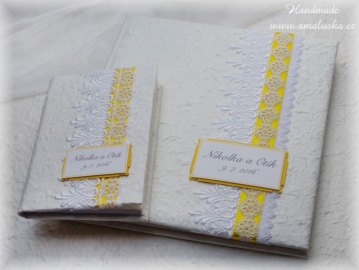 Wedding photo album and book with handmade paper, satin laces and ribbons.