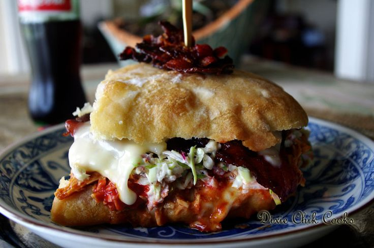 BBQ Chicken Grilled Cheese on Ciabatta with Hot Candied Bacon | Recipe