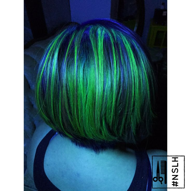 UV reactive hair color Black Light Hair Pravana Neons Green hair Neon Green Hair color BlackLight Blue hair Neon Blue hair color by #NSLH at Adorn Salon and Boutique in Downtown Asheville