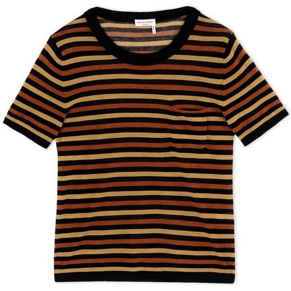 Sonia Rykiel Striped Knit Top ($505) ❤ liked on Polyvore featuring tops, shirts, t-shirts, black, stripe shirt, short sleeve tops, colorful striped shirt, striped top and multi colored striped shirt