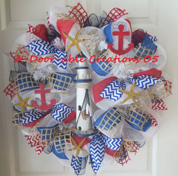 Nautical Deco Mesh Wreath with Burlap by ADoorableCreations05, $89.00