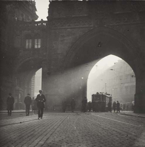 A streetcar at the Powder Tower, Prague, late 1920's, Josef Sudek