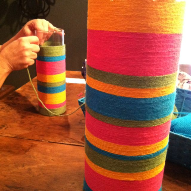 Wrap glass containers with colorful yarn for a Mexican fiesta!! So fun!!