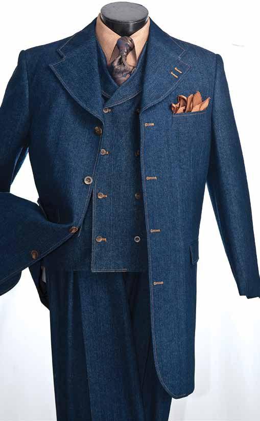 Vittorio St. Angelo Men's Fashion 3pc Denim Suit - Wide Leg Pants