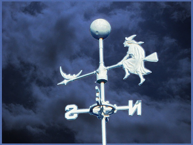 riding a broom weather vane. Awesome!