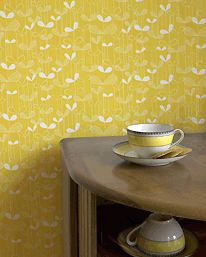 Yellow retro wallpaper from MissPrint - totally loving this cheery wallpaper for my hall :)