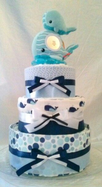 3 Tier Whale Themed Diaper Cake By CornerStorkBakery.com