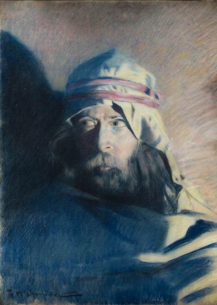 FELIKS MICHAŁ WYGRZYWALSKI (1875 - 1944)  AUTOPORTRET   tech. mieszana, papier / 68 x 49 cm  sygn. l.d.: F.M. Wygrzywalski