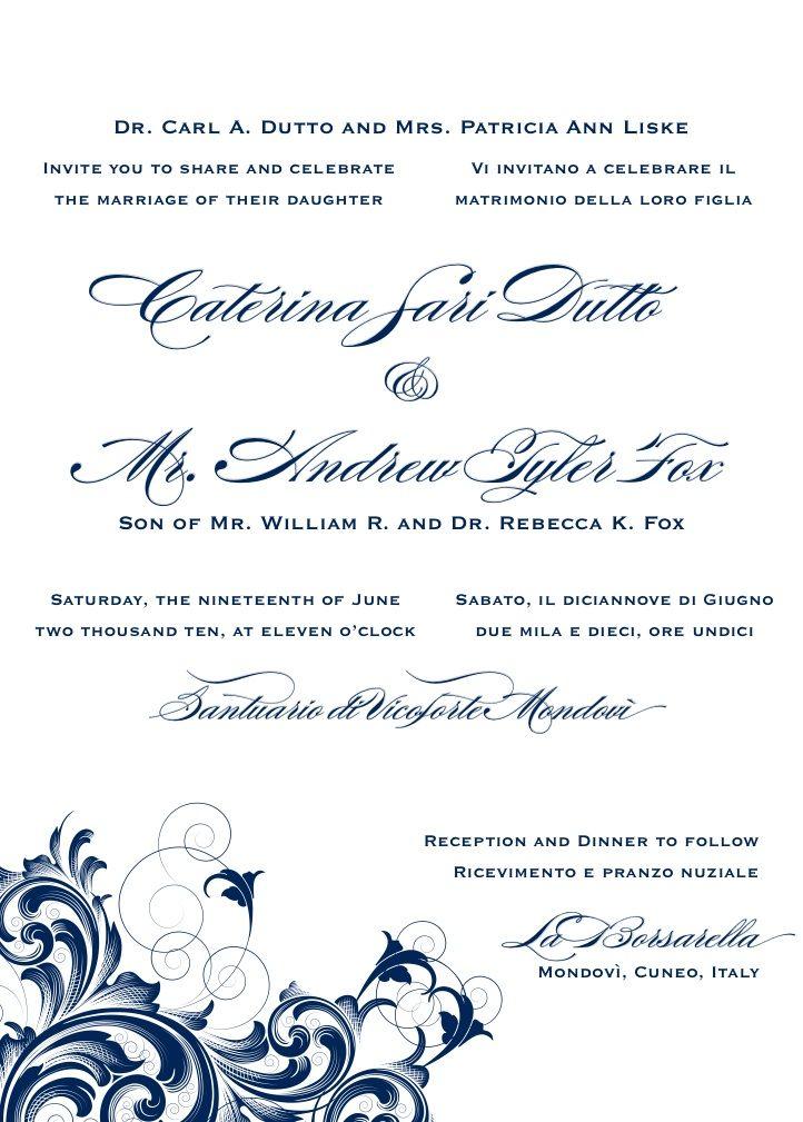Bilingual Letterpress Wedding Invitation Design Rana 1