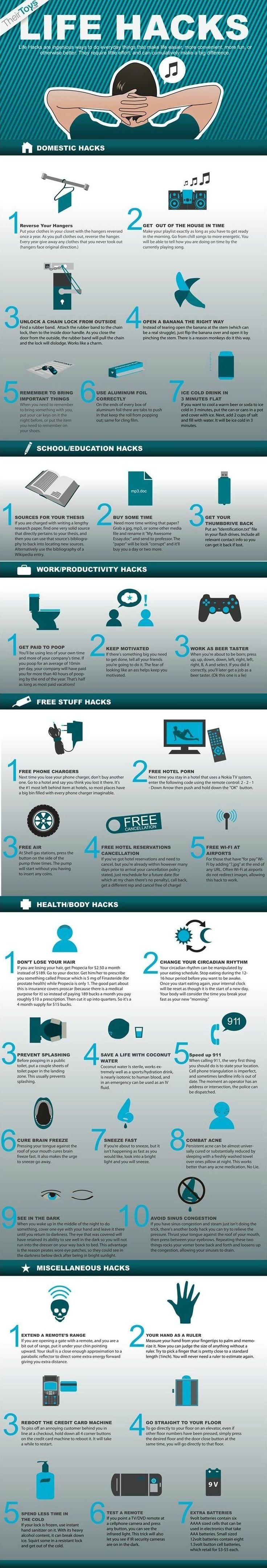 Universal Life Hacks - Domestic, Productivity, Health, Free Stuff (Infographic) - Karma Jello