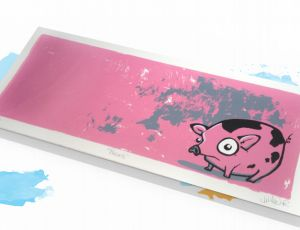 Pigskis 5.5x 12 Original hand pulled screenprint!