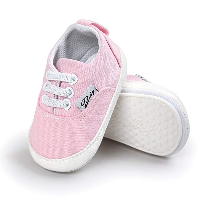 LFHT Baby Boys Girls Canvas Toddler Sneaker Anti-Slip First Walkers Candy Shoes 0-24 Months
