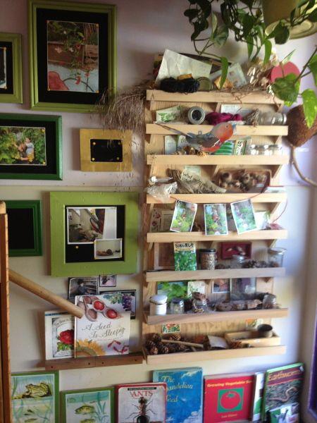 shelves above interest areas for books