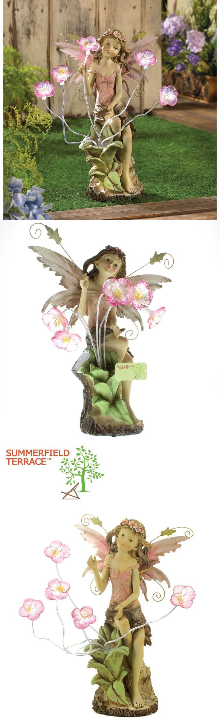 Fairy lawn ornaments - Statues And Lawn Ornaments 29511 Fairy With Solar Panel Led Light Peony Flower Statue Garden Yard Decor 13915 Buy It Now Only 41 79 On Ebay