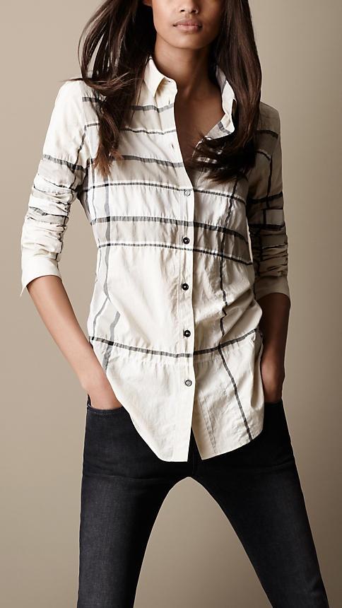 Burberry Brit Check Cotton-Blend Shirt