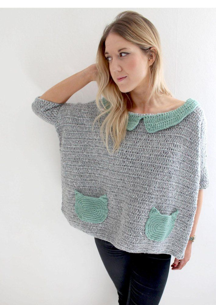 As seen on telly! A super fun, super simple and super cosy oversized jumper...with cat pockets, I mean, what more could you want?! One size fits UK8-14.