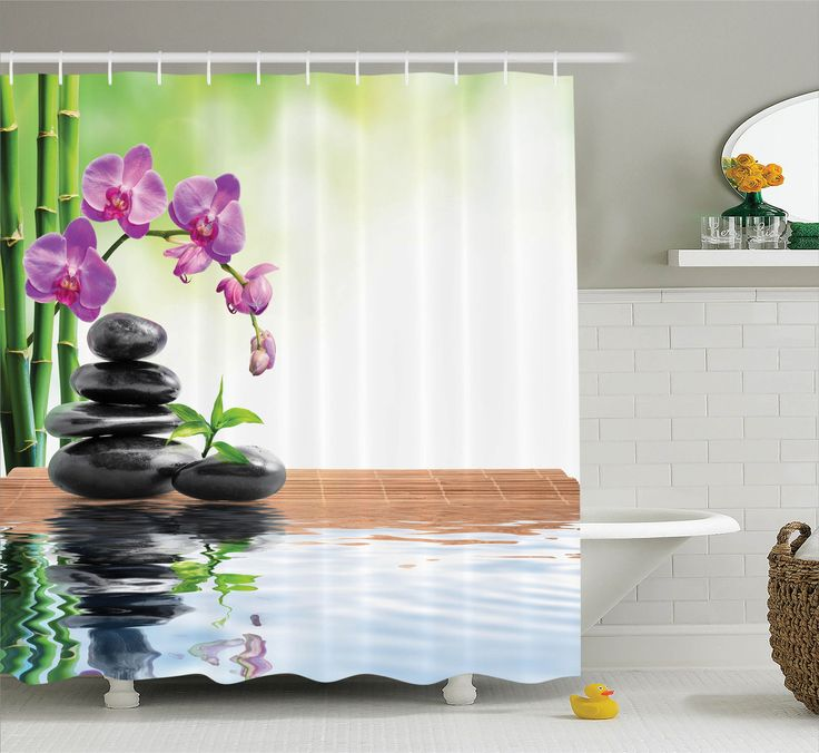 Spa Decor Shower Curtain Set, Spa With Spring Water And Health Giving Properties Asian Eastern Way Of Getting Better Art Photo, Bathroom Accessories, 69W X 70L Inches, By Ambesonne
