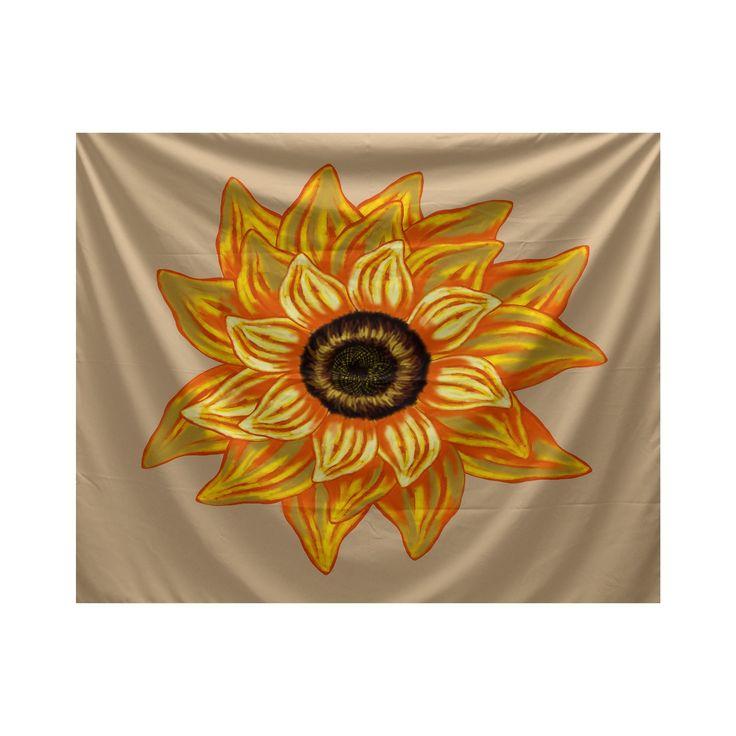 E by Design El Girasol Feliz Floral Print Tapestry (Beige) (Polyester)