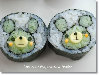 Bear sushi roll I have got to figure out how to do all of these cutesy Japanese things with food.