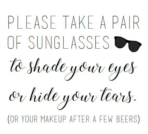 wedding sunglasses sign