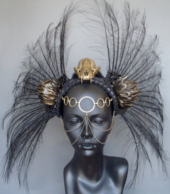 Gold Skull & Black Feather  Headdress by MissGDesignsShop on Etsy, $300.00